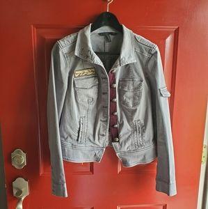 White House Black Market Gray Jean Jacket